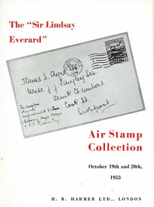 1953 Harmer Sir Edward Everard Air Stamp Collection Auction Catalogue