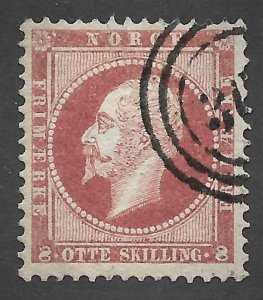 Doyle's_Stamps: VF Used 1856 Scott #5 Norway Stamp w/3-Ring Target Canx