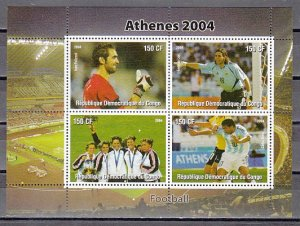 Congo Dem. Rep., 2004 issue. Athens-Soccer sheet of 4. ^