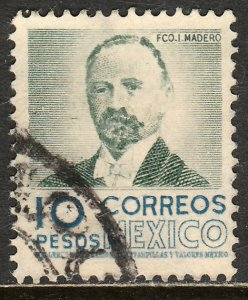 MEXICO 884, $10Pesos 1950 Definitive 2nd Printing wmk 300. USED. F-VF. (1414)