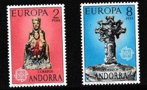 Andorra (Spain) 1974 Europa Issue Scott 79-80 ART Sculpture VF/NH/(**)