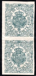 Cuba, Commercial Records, #58, 25c, vertical pair, imperf, Revenue Stamp