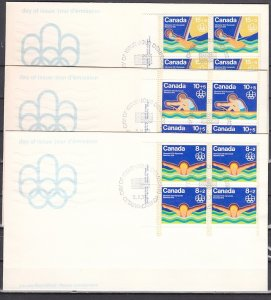 Canada, Scott cat. B4-B6. Montreal Olympics, Blocks of 4. 3 First day covers. ^