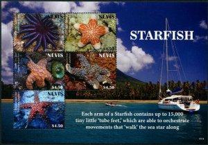 HERRICKSTAMP NEW ISSUES NEVIS Starfish Sheetlet of 5 Different