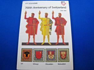 SWITZERLAND - SCOTT #867-8, 884-8, B568-B571 - PTT SOUVENIER BOOKLET - MNH