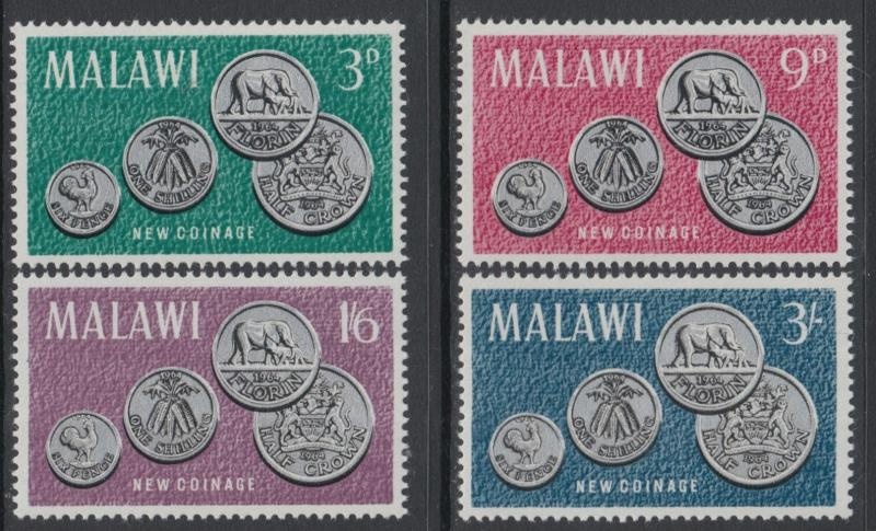 XG-I503 MALAWI - Coins, 1964 New Coinage, Coats Of Arms, 4 Values MNH Set