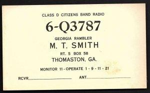 QSL QSO RADIO CARD Georgia Rambler/Class D CBR, Thomaston, GA (Q1561)