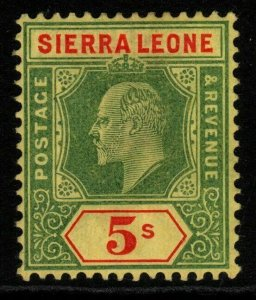 SIERRA LEONE SG110 1908 5/= GREEN & RED/YELLOW MTD MINT
