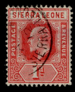SIERRA LEONE EDVII SG100a, 1d red, FINE USED.