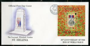 ST. HELENA 1995 50th ANNIVERSARY THE END OF WORLD WAR II  S/S  FIRST DAY COVER
