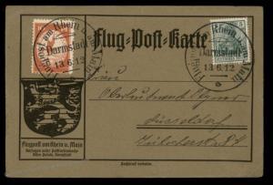 Germany 1912 Zeppelin Schwaben Si10.1.13 Darmstadt Airmail Cover Flugpost 89363