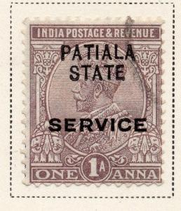 Indian States Patiala 1925 Early Issue Fine Used 1a. Optd 084693