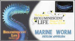 18-066, 2018, Bioluminescent Life, DCP, Marine Worm, First Day Cover
