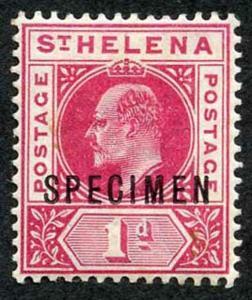St Helena SG54s KEVII 1d carmine opt SPECIMEN M/Mint