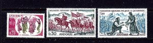 French Andorra 155-57 MLH 1963 set