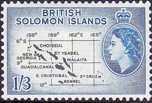BRITISH SOLOMON ISLANDS 1962 QEII 1/3 Black & Pale Ultramarine SG92ba MH