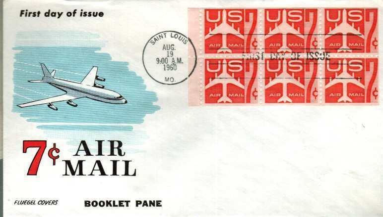 FLUEGEL C60A Red Jet Booklet Pane of 6 HC w/Tab