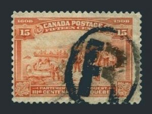 Canada 102,used.Mi 90. Quebec,300th Ann.1908.Champlain's departure for the West.