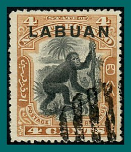 Labuan 1900 Orang-utan, Brown, cancelled #96,SG112