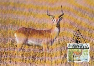 Botswana 1988 Maxicard Sc #432 10t Red lechwe antelope WWF