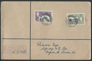 TRINIDAD 1938 GVI 12c & 24c on registered FDC..............................42551