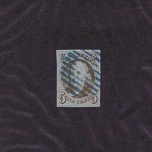 SC# 1 USED 5C FRANKLIN 1847 RARE 10 BAR BLUE CANCEL, 4 NICE MARGINS 2019 PF CERT
