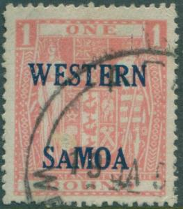 Samoa 1955 SG234 pink £1 Arms fiscal with ovpt with thin spot on front FU