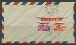 ICELAND SCOTT# B12-13 FLOOD RELIEF IN NETHERLANDS AIR FDC AS SHOWN