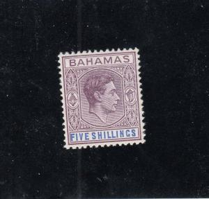 BAHAMAS #112 VF-MLH 5sh 1938-46 KING GEORGE VI /PURPLE & ULTRA CAT VALUE $18