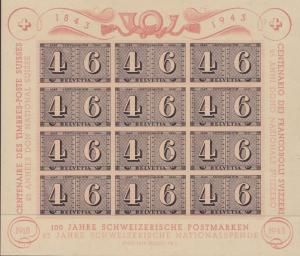 Switzerland 1943 100 Years of Swiss Stamps Large Souvenir Sheet. VF-XF/NH/(**)
