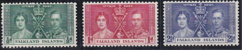 Falkland Islands 81-83 MNH (1937)