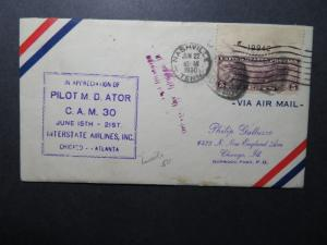 US 1930 Doc Ator Cacheted Flight Cover w/ Signed Card Inside - Z10483