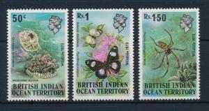 [30444] British Indian Ocean Territory 1973 Butterflies Spider Jellyfish MLH