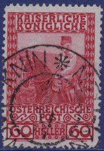 Austria - 1908 - Scott #122 - used - NEU KNIN pmk Czech Republic