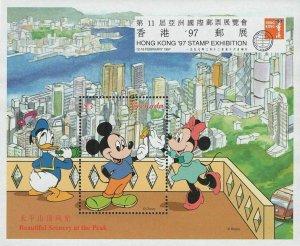 Disney Stamp Beautiful Scenery Peak Hong Kong Mickey Minnie Donald S/S MNH