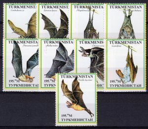 Turkmenistan 1999 BATS Set  (9) #1 Perforated MNH