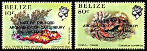 Belize 715-716, MNH, Archbishop of Canterbury Visit Overprints