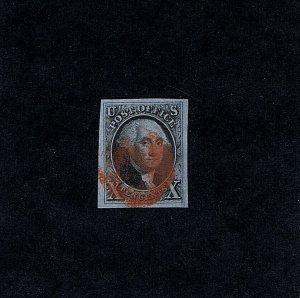 SC# 2 USED 10 CENT WASHINGTON 1847 RED CORK CANCEL 2021 PSAG CERT GRADED XF-S 95