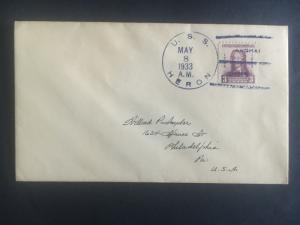 1933 US Navy Post Office Shanghai China Cover to USA USS Heron