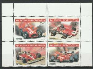 Bosnia and Herzegovina 2001 Formula 1, Ferrari 4 MNH stamps