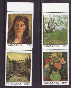Tanzania-Sc#772//779-unused NH 1/2 set-Paintings-Van Gogh-1991-