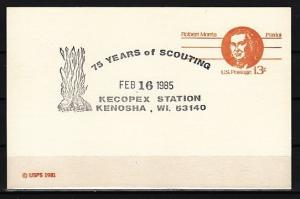 United States, 1985 issue. 16/FEB/85. 75 Years of Scouting cancel, Postal card.