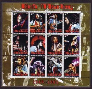 Mordovia, 2001 Russian Local. Musician Bob Marley sheet of 12. ^