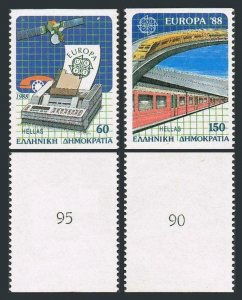 Greece 1621c-1622c/number,MNH.Michel 1685C-1686C. EUROPE CEPT-1988. Satellite,