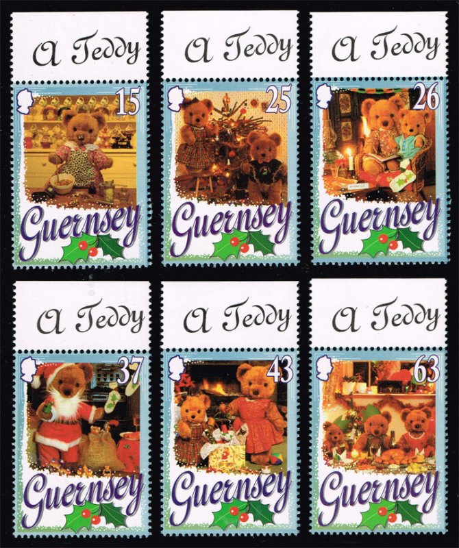 Guernsey #609-614 Teddy Bear Christmas Set of 6; MNH (5Stars)