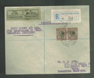 1930 Dar es Salaam Tanganyika to Tanga KUT FFC First Flight Cover 70 FLown