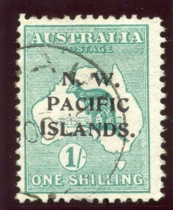 New Guinea 1915 KGV Roos 1s green (Type A ovpt) very fine used. SG 81. Sc 6.