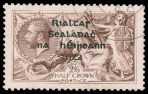 IRELAND 1922 2sh6p GRAY BROWN ALEX THOM OVERPRINT USED #36 beautifully center...