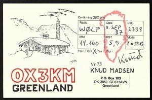QSL QSO RADIO CARD OX3KM,Greenland,Knud Madsen,1987, Godhavn,Greenland (Q2271)