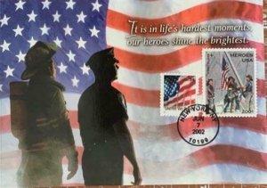 Hideaki Nakano 3549 B-2 Fireman Police 9-11-01 Heroes Shine Greeting Card